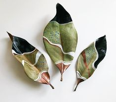 Painted Dried Magnolia Leaves by Samantha Dion BakerIt's been a little while since I've shared my leaves. Last night I paint… It's been a little while since I've shared my leaves. Last night I painted this trio of dried magnolia leaves while we played a Ceramic Pottery, Ceramic Art, Deco Nature, Magnolia Leaves, Painted Leaves, Painting On Leaves, Leaf Paintings, Leaf Crafts, Leaf Art