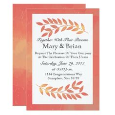 Pink Watercolor Fall Autumn Leaves Invitation - wedding invitations diy cyo special idea personalize card