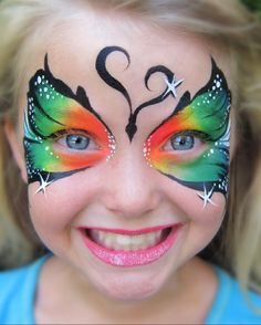 butterfly face paint - use puff paint and tool