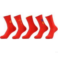 WARBOYS 5 pair/lot Fashion Chinese Character Men Socks Good Luck Red Sox Cotton Sock Men Odd Future Socks For Happy Socken