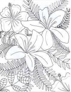 Flowers Drawings : Flowers Coloring Page by Adult Coloring Book Pages, Printable Adult Coloring Pages, Flower Coloring Pages, Mandala Coloring, Colouring Pages, Coloring Books, Coloring Sheets, Floral Illustrations, Art Plastique