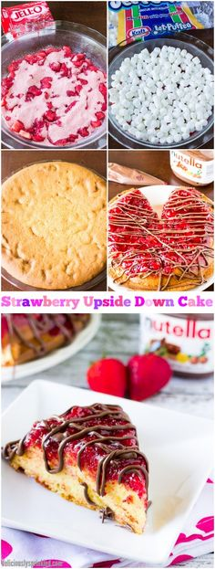 Strawberry Upside Down Cake Drizzled with Nutella! Taste just like a chocolate covered strawberry, so delicious!