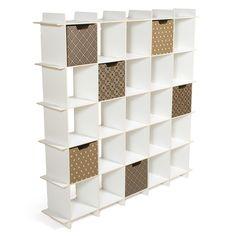 White 25 Cubby Storage Shelf with bins