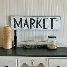 Vintage-style MARKET sign, farmhouse decor.