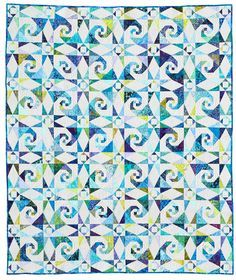 Study in blue challenge - Sea Swept Quilting Pattern from the Editors of American Patchwork & Quilting Ocean Quilt, Beach Quilt, Aqua Quilt, Quilting Projects, Quilting Designs, Storm At Sea Quilt, American Patchwork And Quilting, Batik Quilts, Denim Quilts
