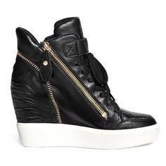 Ash 'Alfa' embossed ribcage leather wedge sneakers featuring polyvore, fashion, shoes, sneakers, black, wedged sneakers, wedge sneaker shoes, ash footwear, hidden wedge sneakers and black wedge sneakers