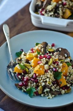 Millet pilaf with butternut squash, mushrooms and pomegranate. (Wednesday)