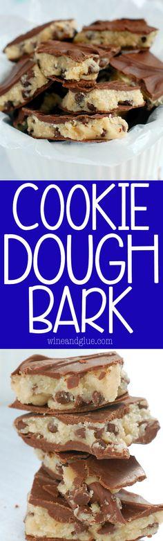 Dough Bark is deliciously addictive and super easy! No Bake Cookie Dough, Cookie Dough Recipes, Candy Recipes, Sweet Recipes, Baking Recipes, Dessert Recipes, Salted Chocolate, Chocolate Desserts, Chocolate Bark