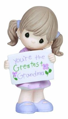 Precious Moments Figurine Girl Holding Greatest Grandma Sign for sale online Birthday Gifts For Grandma, Best Birthday Gifts, 31 Birthday, Grandparents Day Gifts, Grandma Gifts, Cute Gifts, Great Gifts, Grandmother Quotes, Precious Moments Figurines