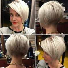 """@katiezimbalisalon just cool on @kamrynweis"" [ ""Bob hairstyles are in trends lately and women sport many different bob styles. Here in this post you will find the images of 20 Must-See Bob Haircuts that can make you want a bob immediately! Platinum Bob Hairstyle Stacked… Continue Reading →"", ""This haircut minus the shaved part. Gradual angle preferred."", ""35 Trendy Short Hair Cuts for Women 2017 - PoPular Short Hairstyle Ideas"", ""Forty is a dreaded word for women as they getting old..."