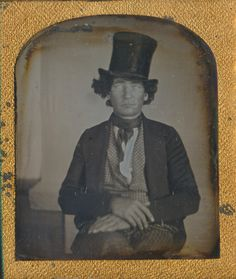 Stove Top Hat WILD MAN mid 1840s Daguerreotype 1/6 plate. available at CrowCreekUnique