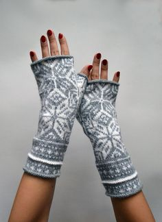 Nordic Gray Fingerless Gloves- Wool Fingerless Gloves-Scandinavian Gloves-Long Fingerless Gloves - Christmas Gift  nO 60 on Etsy, $37.00