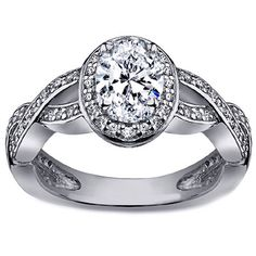 Oval Diamond Halo Pave Twisted band Engagement Ring in White Gold
