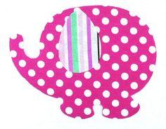 Iron On Applique Elephant, Pink Polka Dot, T-Shirt Embellishment,  Bib Patch, Children's Quilt Accent
