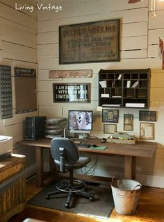 Living-Vintage home office love the garbage can idea too!