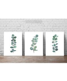 Set 3 Plants Watercolour Painting, Scandi Style Botanical Illustration, Mint Green Art Print, Minimalist Dining Room Scandinavian Decor #MinimalistDecor