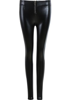 Black Zip PU Pant - Sheinside.com