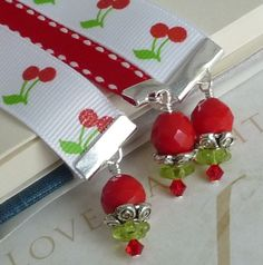 GroGrain Ribbon Bookmarks - I want these cherry bookmarks! (etsy)