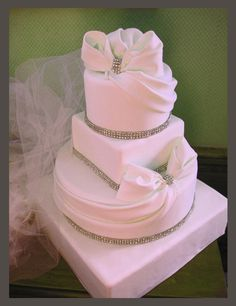 beautiful wedding cakes with bling | Bows and Bling Wedding Cake — Other / Mixed Shaped Wedding Cakes