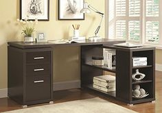 1PerfectChoice Yvette L-Shape Office Writing Study Computer Desk Multi Storage Drawers Shelves Color Cappuccino
