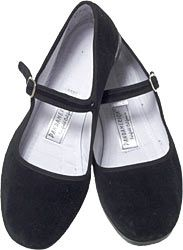 Handy little shoes to have in your closet.  Black velvet, but come in lots of colors and fabrics.  For when you'd really rather be barefoot but have to wear something a bit more than sandals.  Beware the lack of arch support though.  Not good if you have to do a lot of walking.