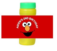 Personalized Elmo Birthday Party Favors Bubble Labels Wrappers by DannisCuteCreations