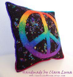 Rainbow Peace Felted Cushion by therainbowroom, via Flickr