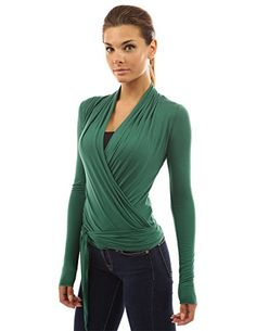 PattyBoutik Women's Convertible Long Sleeve Casual Wrap Knit Top (Green S) – Fashion Finds from Selena
