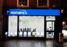 Romans (Caversham) - LED Flex Face Signage, installed with Projector and Window Displays. #Fascia #EstateAgents #Signage