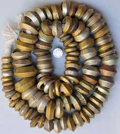 """Mixed large nickel/silver and bronze """"rings,"""" with incised design, found in Ethiopia African Trade Beads, African Jewelry, Tribal Jewelry, Glass Jewelry, Jewelry Art, Jewelry Design, Beadwork, Beading, Ethiopian Jewelry"""
