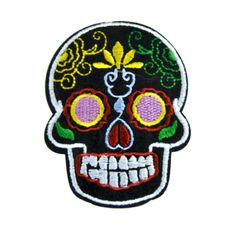 - Sugar Skull Applique Iron On Patch - 100% Cotton - Well made, greatly embroidered and neatly stitched. - Just iron on any fabric you like - Turn your ordinary clothes or bags into something that sta