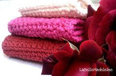 RED Rose  wash cloths/dish cloths by LaBelleMadeleine on Etsy, $9.00