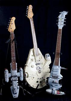 Unique guitars created by British guitar maker Tom Bingham look like iconic spaceships from the Star Wars universe.