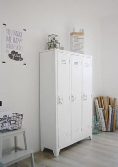 contemporary home office by Holly Marder / poster by PAQHUIS.nl – home office organization files Vintage Lockers, Metal Lockers, Industrial Home Offices, Industrial House, Vintage Industrial, Home And Deco, Home And Living, Living Rooms, Interior Inspiration