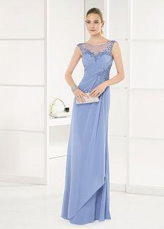 Tulle   Chiffon Bateau Neckline Full Length Fodero   Colonna Madre dei  vestiti da sposa con 89d79eb9b8e