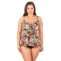 b9a41a5dd8975 Penbrooke Womens PlusSize Piccadilly Bow Front Fauxkini One Piece Swimsuit  BlackMulti *** Find out more about the great product at the image link.