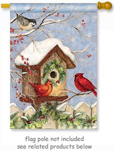 Welcome Your Family Home With This Christmas Birdhouse Flag By Artist Susan  Winget For Breeze Art . The Lovely Design Is Visible From Both Sides O