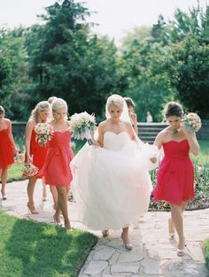Bridesmaids in flame & fuschia. #LoveLaneLooks