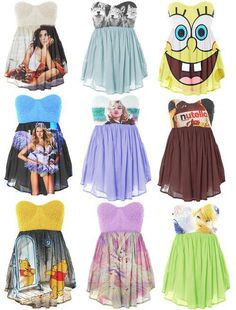 nerd-fashion-love the nutella one and the winnie the pooh! Nerd Outfits, Cute Dress Outfits, Outfits For Teens, Cool Outfits, Nerd Fashion, Fashion Photo, Fashion Beauty, Cute Cheap Dresses, Weird Dresses