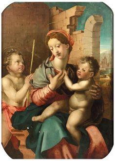 Attribué à Michele Tosini, dit Michele di Ridolfo del Ghirlandaio (1503-1577), Vierge à l'Enfant avec saint Jean-Baptiste, panneau de peuplier, 92 x 67 cm. Estimation : 20 000/30 000 €. Samedi 28 février, Mâcon. Quai des Enchères SVV. Cabinet Turquin.