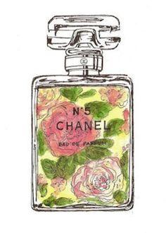Chanel No 5 Perfume Bottle Watercolor Art Print