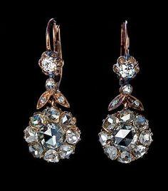 nice Antique Rose Cut Diamond Dangle Earrings - Romanov Russia