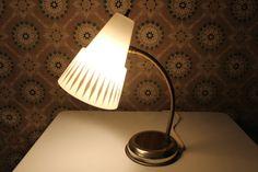 Retro Desk Lamp with Cone Shade and Gold Diamonds by MadGirlRetro