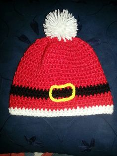 Gorro santa elaborado en crochet talla 6-9 meses disponible