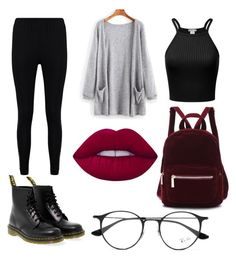 """.."" by paola-jmz on Polyvore featuring Boohoo, Dr. Martens, Lime Crime and Ray-Ban"