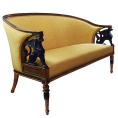 Early 19th Century Swedish Empire Style Settee | See more antique and modern Settees at https://www.1stdibs.com/furniture/seating/settees