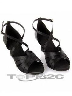 Classique noir satiné 2 1/5'' haut talon Womens latine Shoes      Groupe: Femme     Occasion: Danse latine     Hauteur de Talon: 5.5cm     Type de Talon: Bobine     Bout de Chaussures: Ouvert     Couleur affichée: Noir     Poids: 1kg