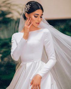 Elegant A-line Long Sleeve Simple Wedding Dresses, bride simple modest wedding dresses Puffy Wedding Dresses, Muslim Wedding Dresses, Western Wedding Dresses, Classic Wedding Dress, Wedding Dress Sleeves, Long Sleeve Wedding, Dream Wedding Dresses, Bridal Dresses, Wedding Gowns