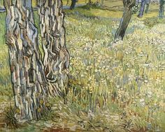 "arsvitaest:  ""Tree Trunks in the Grass"" Author: Vincent van Gogh (Dutch, 1853-1890)Date: 1890Medium: Oil on canvasLocation: Kröller-Müller Museum, Otterlo, NetherlandsVan Gogh was a pioneer of modern art, using the genres of landscape, portraiture and still life to experiment with form and color. Here, in a close-up rendition of urban nature, Tree trunks in the grass, he reinvigorates the landscape format by looking down into it instead of outwards, and thus eliminates both horizon and sky…"