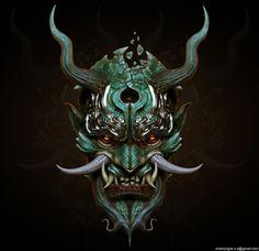 samurai oni mask fresh svein yngve sandvik antonsen cg art of samurai oni mask Samurai Maske Tattoo, Hannya Maske Tattoo, Oni Tattoo, Demon Tattoo, Image Japon, Oni Maske, Mascara Oni, Japanese Mask Tattoo, Japanese Oni Mask